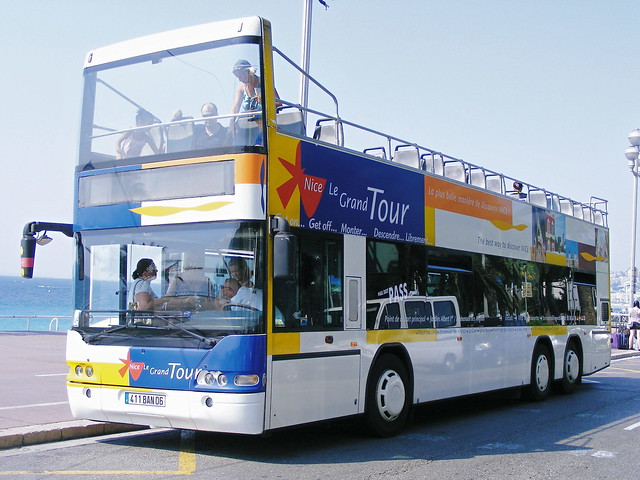 Nice, France - Open top sightseeing bus - Promenade des Anglais