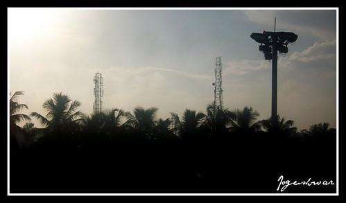 city morning tower silhouette sunrise wake