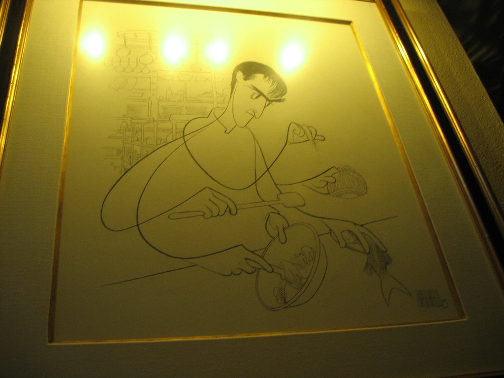 Al Hirschfeld drawing of the chef