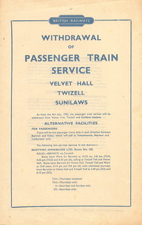 British Railways - withdrawal of passenger train services from Velvet Hall, Twizell and Sunilaws - 4 July 1955