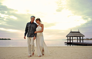 Couple Walking at Sunset in Anahita Resort - Mauritius | by whl.travel