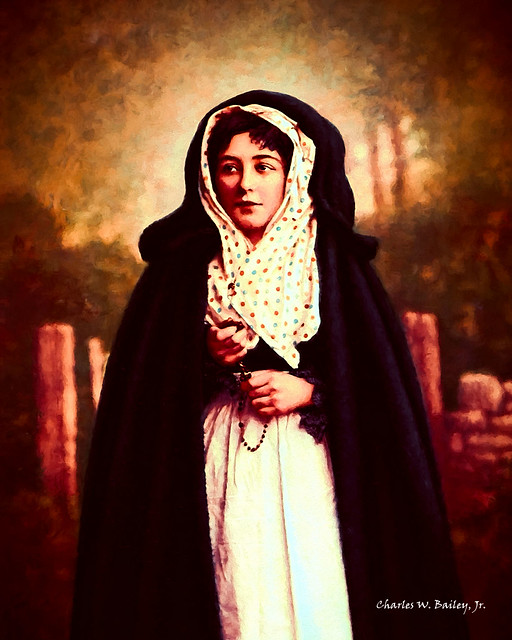 Digital Oil Painting of an Irish Woman with Rosary by Charles W. Bailey, Jr.