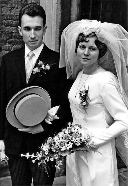 Religious marriage of Phillip Theodoor van der Groef (son of Leendert van der Groef and Theodora van den Worm) and Colette Debora Marjorie Dorothea Maria Louwerens , June 22 , 1967 , Kerkrade , the Netherlands  -  after the ceremony