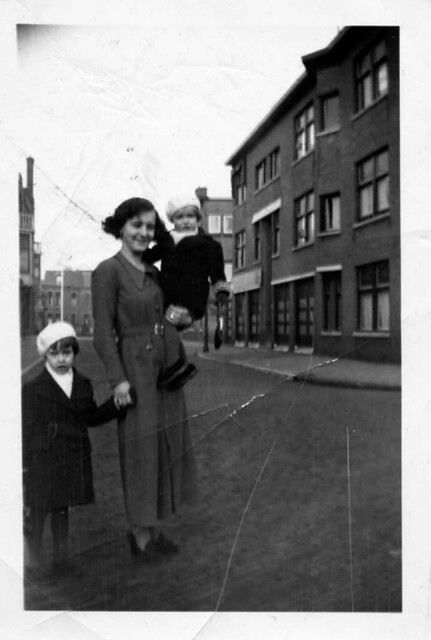 My two cousins Martha ten Wolde and her sister Paula (the youngest one , on the arm) , together with their German aunt , Els Mordau , here in/near the Zwetstraat where they used to live then , in the city of The Hague/Den Haag , appr. 1936 , Holland