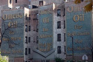 Surviving Omega Oil ad, seen from Frederick Douglass Boulevard, New York