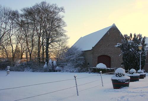 winter snow netherlands sunrise sneeuw nederland horn limburg zonsopkomst