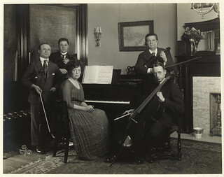 [Music ensemble with piano and bowed stringed instruments.] | by New York Public Library