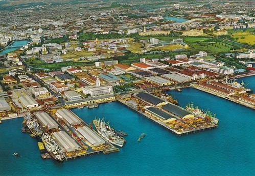 Manila Harbor, Manila City, and Intramuros, Philippines, late 1950s or early 1960s | by J. Tewell