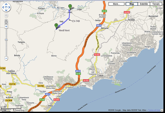 Map Of Spain Jalon.Map Showing The Route From Jalon To The Verd I Vent Restau Flickr
