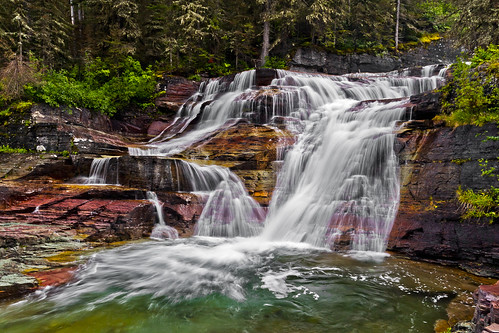 park longexposure red nature rock river rockies waterfall glacier national wilderness silky flowingwater virginiafalls