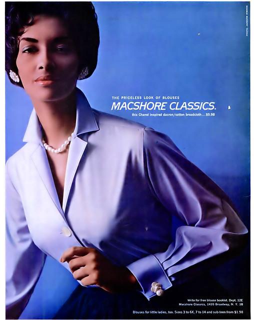 Macshore Classics Advertisement featuring Early Black Supermodel Helen Williams - Ebony Magazine, December, 1959