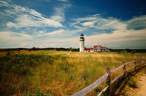 sky usa lighthouse fence capecod massachusetts scenic trails truro lanscape goldstaraward