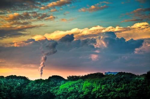sunset netherlands dutch clouds forest nijmegen smoke nederland signal hdr gelderland smokesignal photomatix