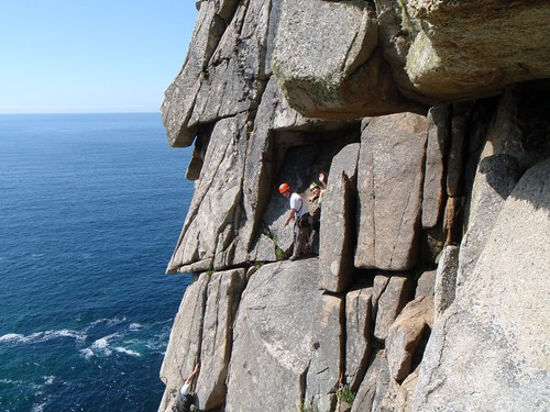 31 - Climbing in Cornwall for its best!  Brian and Sarah at the P2 belay ledge of Doorpost, Bosigran, while Jon is seconding.