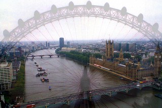 The panorama shows the London skyline from the near top of the London Eye