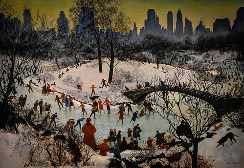 Agnes Tait - Skating in Central Park, 1934 - 1934 New Deal Painting at Smithsonian American Art Museum