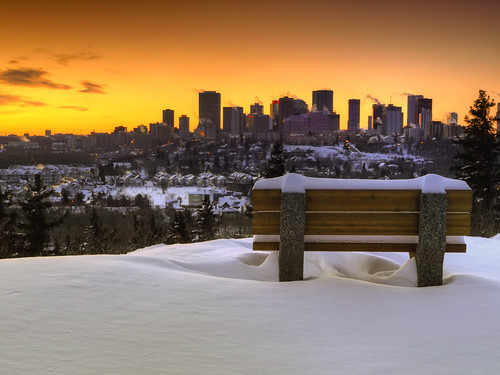 winter sunset urban snow canada cold nature weather bench landscape evening downtown edmonton freezing explore alberta northamerica drifts hdr impressedbeauty thechallengefactory