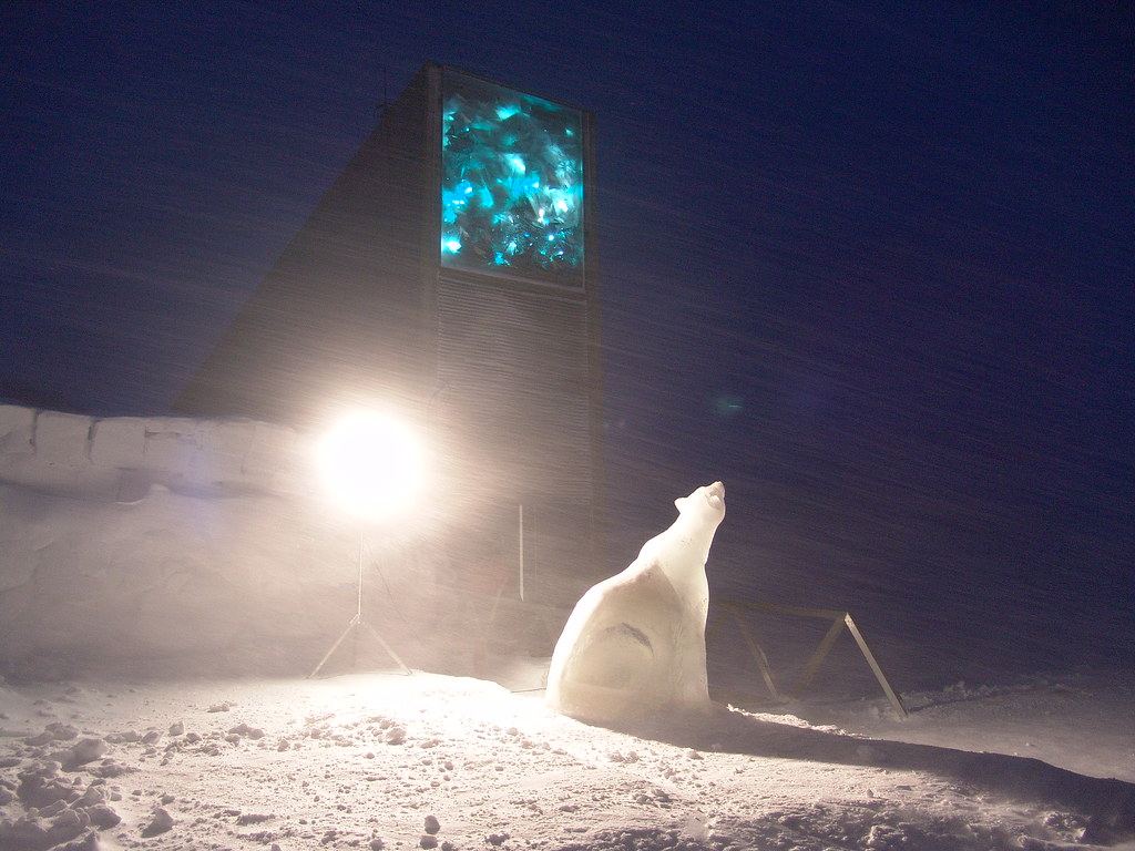 The Seed Vault in February 2008. A polar bear made of ice … | Flickr