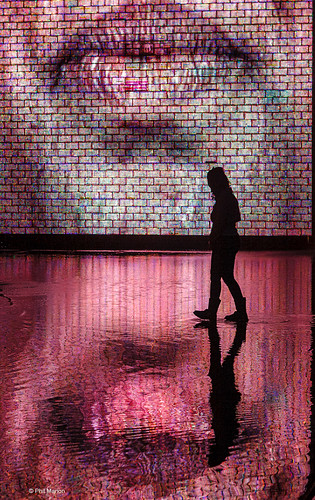 Crown Fountain reflection and silhouette - Chicago   by Phil Marion