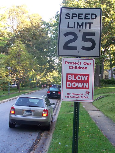 Protect Our Children Slow Down street sign, Stoneleigh neighborhood, Towson