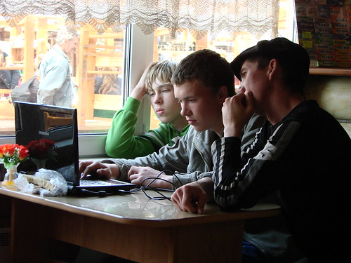 Boys with Computer - Listvyanka, Shores of Lake Baikal - Russia | by Adam Jones, Ph.D. - Global Photo Archive