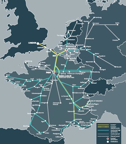 Map of Eurostar & connecting high-speed train routes | Flickr