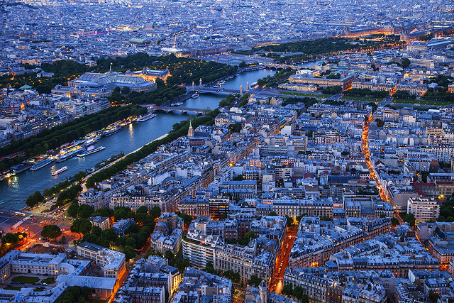 Evening Paris city view from Eiffel Tower