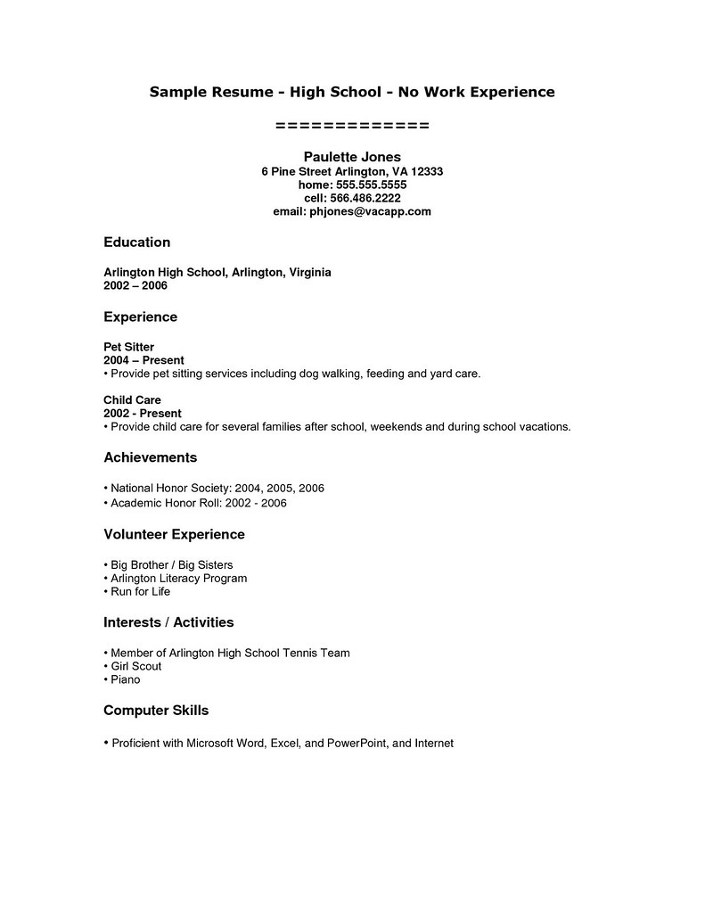 Student Resume Examples No Experience Student Resume Examp Flickr