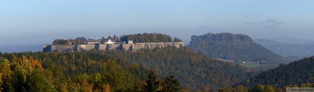 Panoramablick mit Festung Königstein und Lilienstein