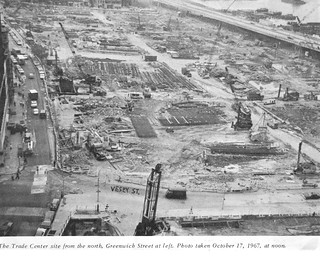 """World Trade Center site before construction started. The old neighborhoods were """"de-mapped"""". West Side Highway and abandoned piers on the Hudson at right, 1967. New York 