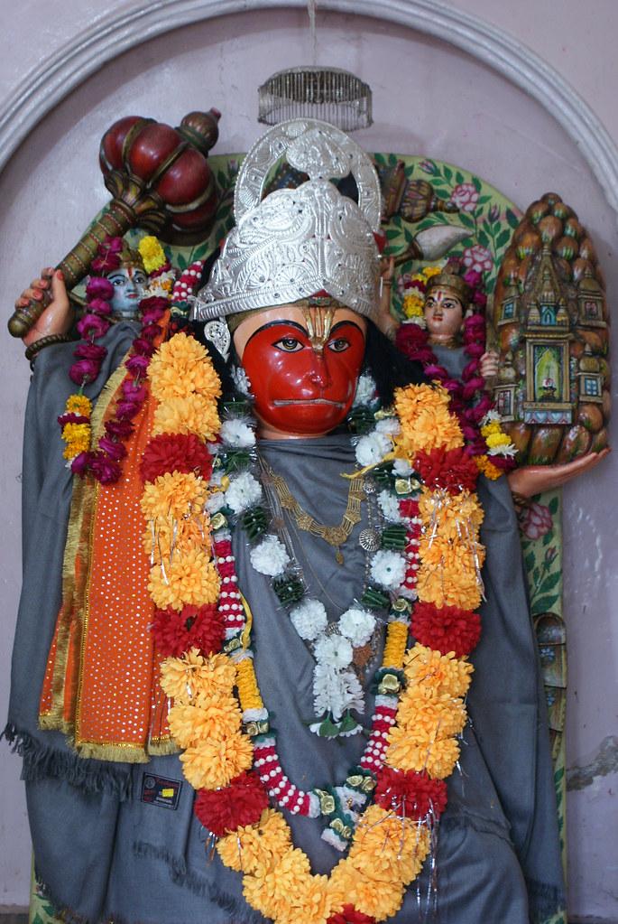 Lord Hanuman @ Thadeshari mandir, Orai | Lord Hanuman is a v