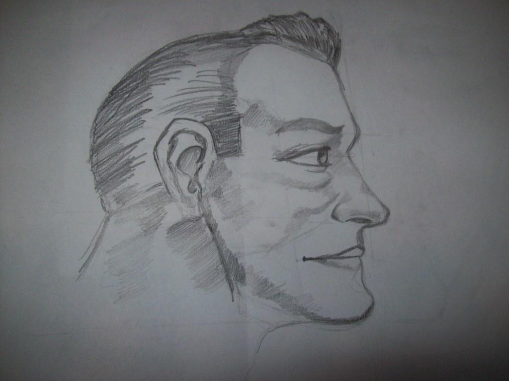 Rosto Homem Perfil Desenho A Lapis Feito Por Isabella