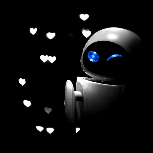 eve blue black square robot eva bokeh disney christmaslights pixar wink walle canonef50mmf14usm robotlove 30daychallenge explored september09 canon450d myfavouritefilm shapedbokeh heartshapedbokeh canondigitalrebelxsi interactiverobot beanser 230bokeh evewinking talkingeve interactiveeve interactiveeverobot