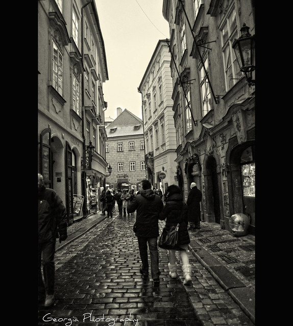 Walking  through the medieval alleys of Old Town -Prague