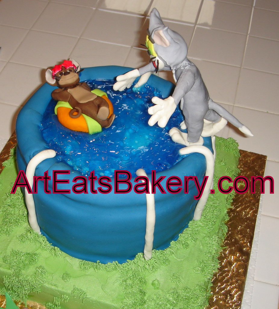 Cool Tom And Jerry Custom Kids Fondant Swiming Pool Birthday Cake A Funny Birthday Cards Online Chimdamsfinfo