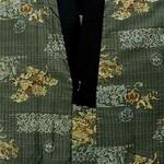 男物 サップグリーン地 唐獅子柄 長襦袢   【リサイクル着物・アンティーク着物・帯の専門店】