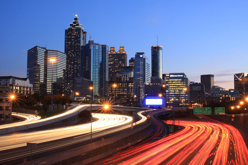 atlanta sunset usa cars skyline night america canon georgia aj landscape lights downtown cityscape atl tail north headlights clear ave streaks brustein 50d platinumheartaward