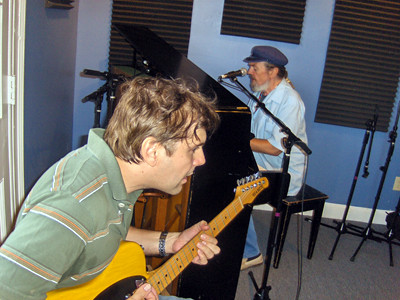 Shane Theriot and Dr. John at WWOZ in 2009.