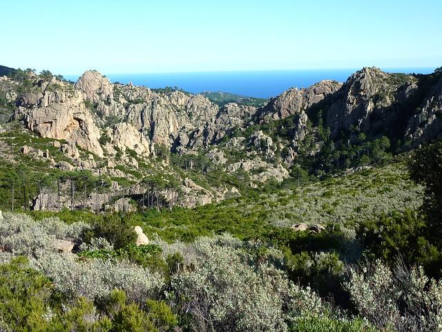 Exploration de l'ancien chemin Niffru/Radichella sur la crête : vue du départ du canyon de Petra Pinzuta depuis le col 645 m