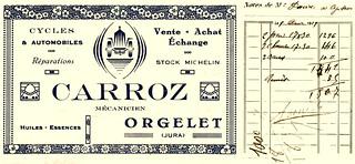 Carte de visite du mécanicien CARROZ à Orgelet