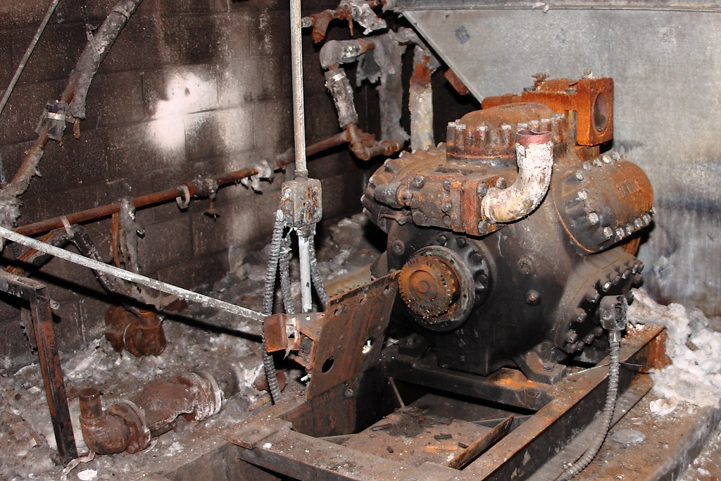 Burnt and rusted refrigeration compressor