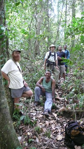 Sat, 08/23/2008 - 11:03 - L-R: Vojtech Novotny (Plot Leader), Kipiro Damas (FRI), Tim Whitfield, Chris Dahl (Binatang Research Center) and Billy Bau (FRI) in 50-ha plot. Credit: CTFS