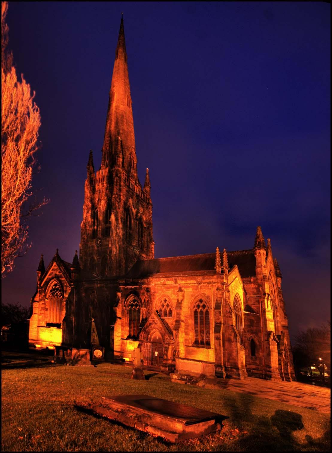 St.,Elphin's,Church,Warrington,town,cheshire,england,UK,GB,street,NW,north,west,urban,Parish,Elphin,tower,saint,elfins,worship,its,grim,up,orange,dusk,night,shot,blue,sky,magic,hour,grave,yard,graveyard,Lancashire,tripod,available,light,available light,ambiant,magic hour,northwest,britain,365days,HDR,high dynamic range,tonysmith,tony,smith,highway,road,noche,nuit,hotpix!