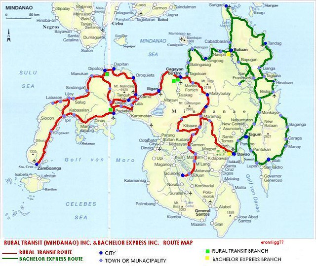 Route Map Of Rural Transit Bachelor Express In Mindanao Flickr