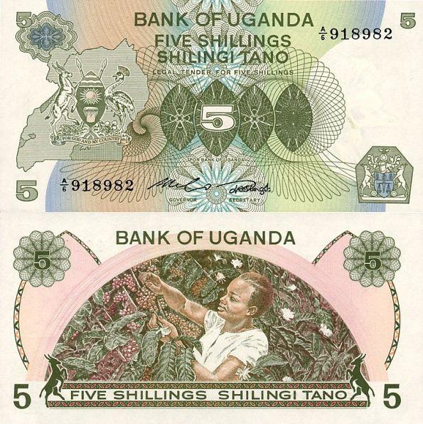 5 Šilingov Uganda 1982