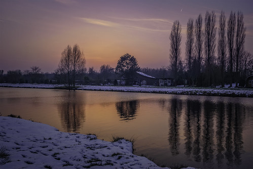 groenekan snow water reflection red blue color colors colours colour cloud clouds forest landscape light netherlands nederland nature outdoors outdoor panorama park sony sky sun sunset tree trees thenetherlands wimvandem winter dusk ditch 150199faves abigfave