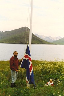 raising the flag in Southeastern Iceland