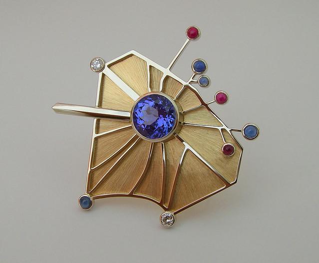 Arc de Triomphe Brooch  / 14K Tanzanite Diamond Sapphire Ruby / 1