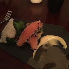 ZOMG! Salmon with coriander sponge with tapioca crisp and lots of other stuff! #chefjakepaul