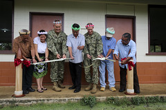 Pacific Partnership leadership and local Federated States of Micronesia government officials cut a ribbon officially reopening up Lukop Elementary School after completing a renovation project July 3.